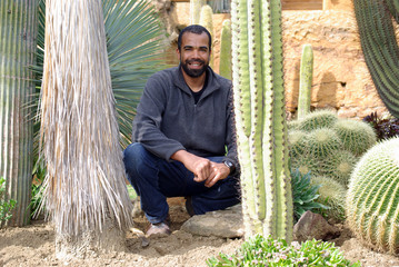 Exotic park gardener at work