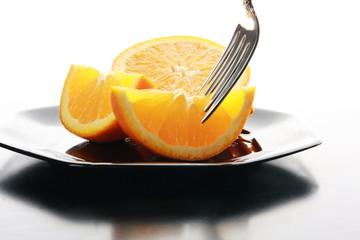 Orange on a platter