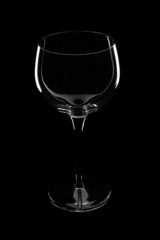 Wine glass over black