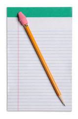 Yellow Pencil Over Note Pad