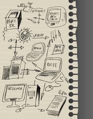 Crazy computer lan illustration, vector