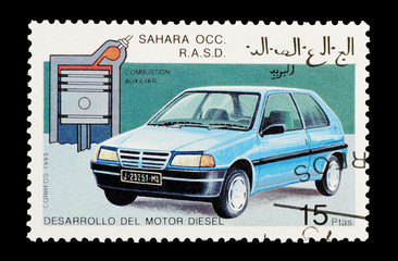 Wall Mural - mail stamp from Western Sahara featuring the diesel engine
