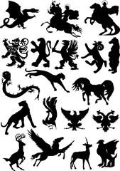 set of isolated heraldic animals