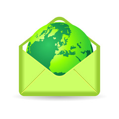 Terrestrial globe inside green envelope over white