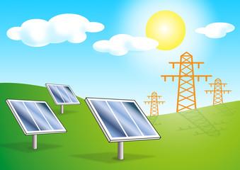 Photovoltaik Anlagen Park mit Strommasten