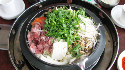 a korea cuisine with lot of vegetable