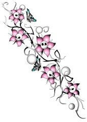 Skull & Flowers Nightmare Blumenrankentattoo