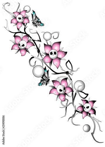 Skull flowers nightmare blumenrankentattoo stockfotos und lizenzfreie bilder auf - Orchideen tattoo vorlage ...