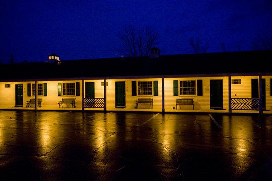 motel at night; North Conway; New Hampshire; USA
