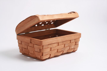 Bast-basket is photographed on a white background.
