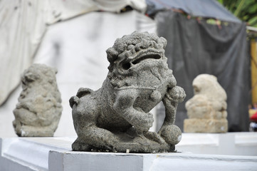 Stone China Lion Sit Antique Group