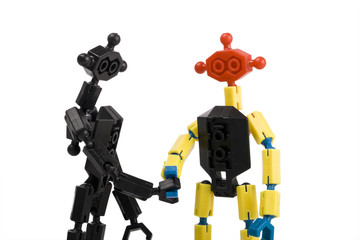 toy bricks people handshake