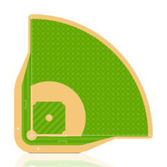 Baseball field. Vector. Detailed portrayal of grass.