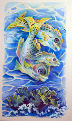 Painting by a gouache.  Marine life
