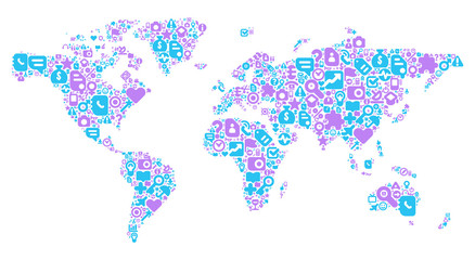 Blue and violet concept of World map
