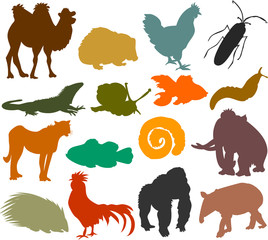 Set of animals icons_H  - silhouettes