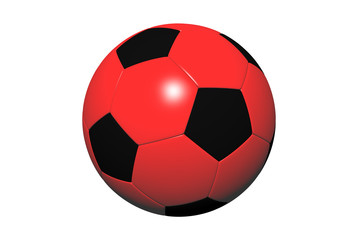 Red and black soccer ball.