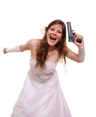 The bride waves a pistol