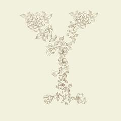 Floral font. Letter Y