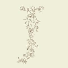 Floral font. Letter J