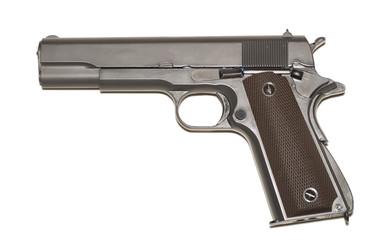Black .45 caliber pistol isolated over white
