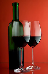 Two wineglass and bottle