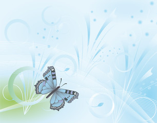 Butterfly on a blue fantasy background