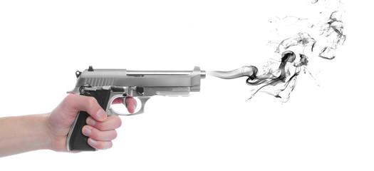 Pistol gun with smoke