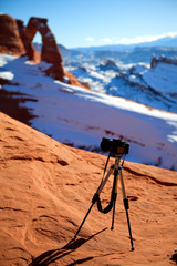 Camera at delicate arch