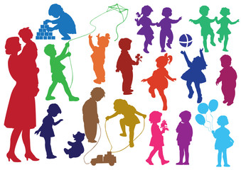 Set of  silhouettes of  children and mother and the child