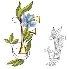 Floral font 2. Letter F