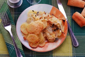 Verze patate e formaggio al forno - Contorni