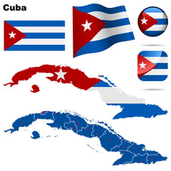 Cuba vector set. Shape, flags and icons.
