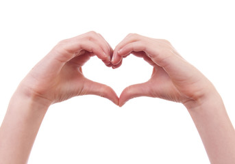 Hands in shape of heart over white background