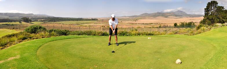 Golf Abschlag Panorama Tee