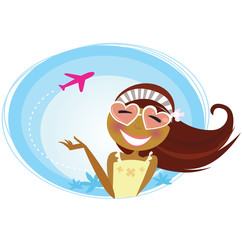 Acrylic Prints Airplanes, balloon Girl on the airport traveling on vacation