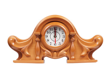 Wooden clock isolated on a white background clipping path.
