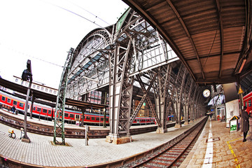 Fotobehang Treinstation station with incoming train