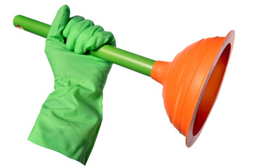ventouse de plomberie et gant vert