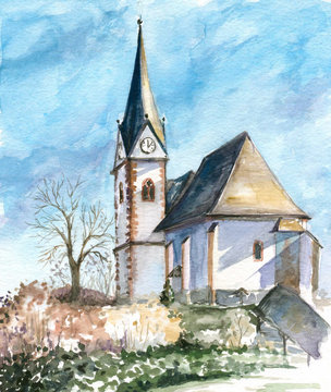 Church in Maria Woerth watercolor painted.