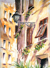 Italian street with lantern watercolor painted.