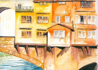 Ponte Vecchio bridge watercolor painted