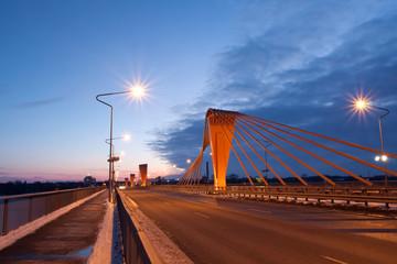 Cable bridge at evening