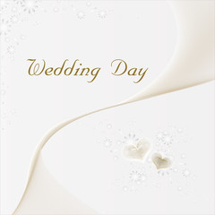 Wedding Day Card with gold hearts
