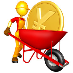 Gold Guy With Wheelbarrow Carrying Gold Coin
