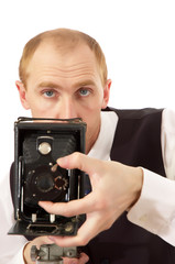 photographer and old camera