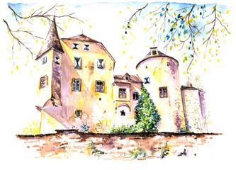 Castle Frauensten,Austria.My own artwork.