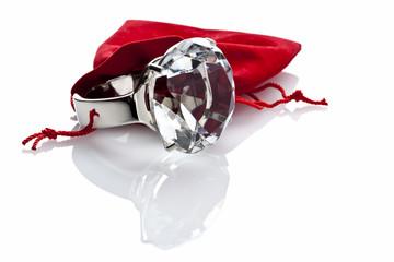 Modeschmuck, Ring und roter Samtbeutel