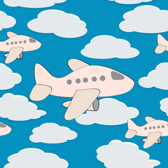 vector seamless background with plane