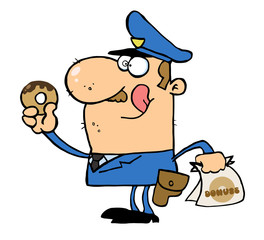 Happy Police Officer Eating Donut